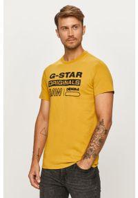 Żółty t-shirt G-Star RAW z nadrukiem