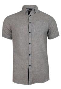 Szara koszula casual Pako Jeans z krótkim rękawem, krótka, melanż, na co dzień