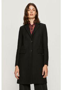 Czarny płaszcz TOMMY HILFIGER bez kaptura, casualowy, na co dzień