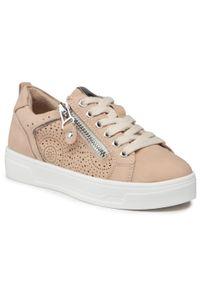 Xti - Sneakersy XTI - 57474 Nude. Okazja: na co dzień. Kolor: beżowy. Materiał: skóra ekologiczna, materiał. Szerokość cholewki: normalna. Styl: casual