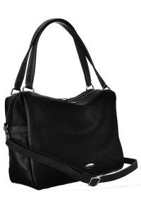 DAVID JONES - Shopper bag czarny David Jones CM5665 BLACK. Kolor: czarny. Materiał: skórzane