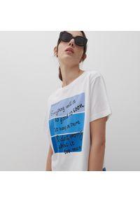 Reserved - T-shirt z nadrukiem - Biały. Kolor: biały. Wzór: nadruk