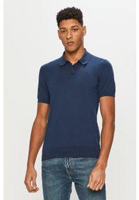 Niebieska koszulka polo Trussardi Jeans polo, na co dzień, casualowa, gładkie