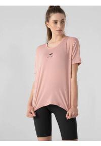 4f - Koszulka treningowa oversize szybkoschnąca damska. Kolor: różowy. Materiał: dzianina, skóra