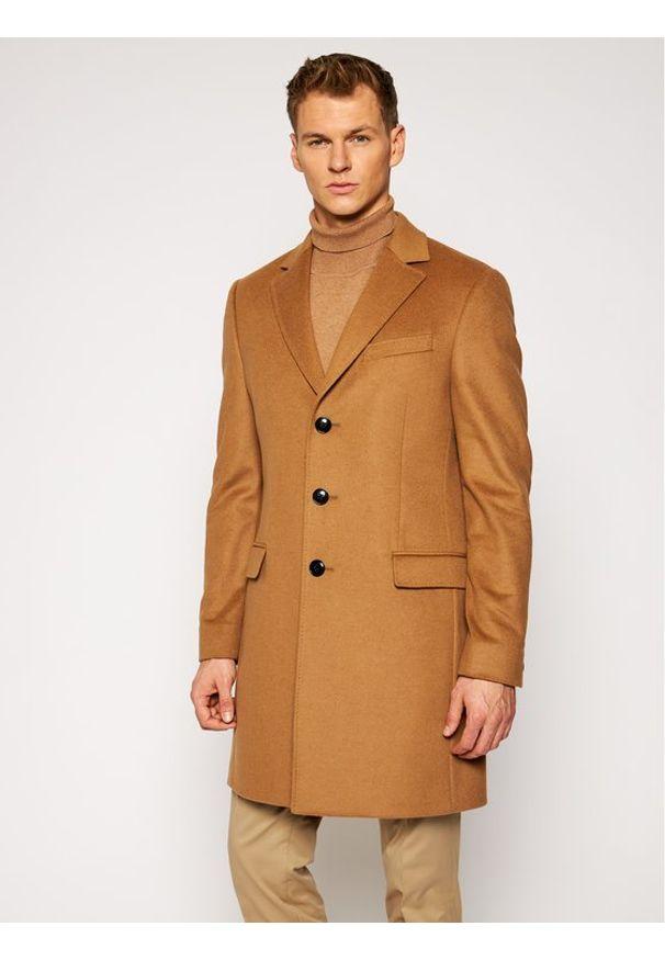TOMMY HILFIGER - Tommy Hilfiger Tailored Płaszcz wełniany Wool Blend TT0TT08117 Brązowy Regular Fit. Kolor: brązowy. Materiał: wełna