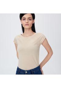 Kremowy t-shirt Sinsay gładki
