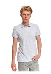 TOP SECRET - T-shirt polo męski z haftem. Typ kołnierza: polo. Kolor: szary. Materiał: materiał. Długość rękawa: krótki rękaw. Długość: krótkie. Wzór: haft. Styl: elegancki