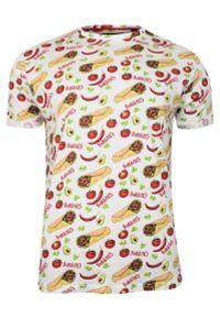 Biały Bawełniany T-Shirt Męski -Brave Soul- Koszulka, Krótki Rękaw, Meksykańskie Jedzenie, Burrito. Okazja: na co dzień. Kolor: biały. Materiał: bawełna. Długość rękawa: krótki rękaw. Długość: krótkie. Wzór: nadruk. Sezon: lato, wiosna. Styl: casual