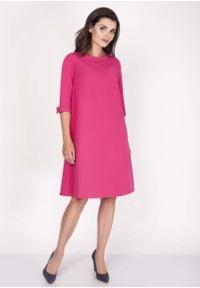 Nommo - Różowa Sukienka Trapezowa Mini z Uroczymi Kokardkami. Typ kołnierza: kokarda. Kolor: różowy. Materiał: wiskoza, poliester. Typ sukienki: trapezowe. Długość: mini