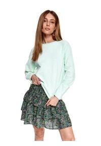TOP SECRET - Bawełniany cienki sweter. Kolor: zielony. Materiał: bawełna. Długość rękawa: długi rękaw. Długość: długie. Sezon: wiosna. Styl: elegancki