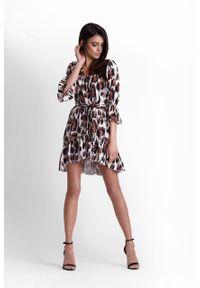 e-margeritka - Sukienka falbanami w panterkę - 34. Okazja: na imprezę. Materiał: materiał, poliester. Wzór: motyw zwierzęcy. Styl: elegancki