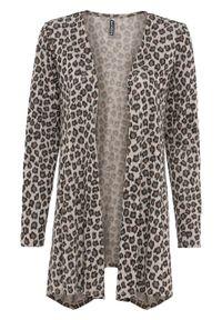 Sweter bez zapięcia z dłuższymi bokami bonprix szary leo. Kolor: szary. Długość: długie
