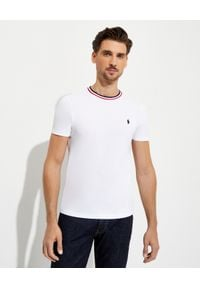 Ralph Lauren - RALPH LAUREN - Biały t-shirt z bawełny Slim Fit. Kolor: biały. Materiał: bawełna. Wzór: paski