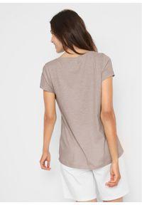 Szara bluzka bonprix z krótkim rękawem, z nadrukiem, krótka