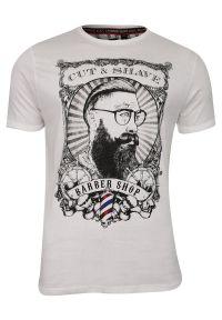 Biały t-shirt Brave Soul krótki, na lato, casualowy, z nadrukiem