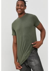 Resteröds - T-shirt. Okazja: na co dzień. Kolor: zielony. Materiał: bawełna, dzianina, włókno. Wzór: gładki. Styl: casual