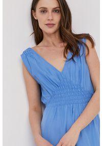 Pepe Jeans - Sukienka Liliana. Okazja: na co dzień. Kolor: niebieski. Materiał: tkanina. Typ sukienki: proste. Styl: casual
