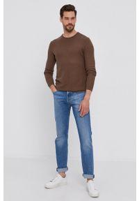 Sisley - Sweter. Okazja: na co dzień. Kolor: brązowy. Materiał: dzianina. Długość rękawa: długi rękaw. Długość: długie. Styl: casual