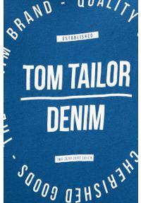 Tom Tailor - Longsleeve bawełniany. Kolor: turkusowy. Materiał: bawełna. Długość rękawa: długi rękaw. Wzór: nadruk