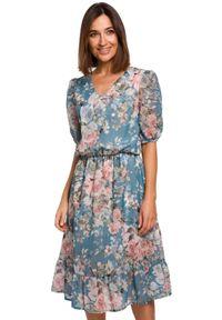 Style - Ekskluzywna szyfonowa sukienka w kwiaty. Materiał: szyfon. Wzór: kwiaty. Sezon: wiosna. Styl: elegancki