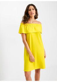 Sukienka z dekoltem carmen bonprix żółty. Typ kołnierza: typu carmen. Kolor: żółty. Typ sukienki: proste