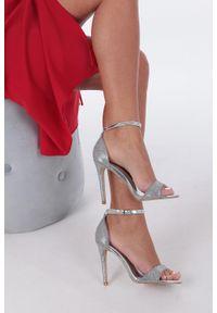Casu - Srebrne sandały szpilki karnawałowe brokatowe z paskiem wokół kostki casu. Okazja: na karnawał. Zapięcie: pasek. Kolor: srebrny. Obcas: na szpilce