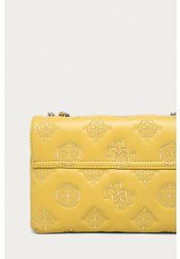 Guess Jeans - Torebka. Kolor: żółty. Wzór: haft. Dodatki: z haftem