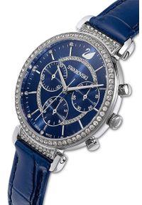 Swarovski - Zegarek PASSAGE CHRONO. Kolor: niebieski. Materiał: skóra, materiał