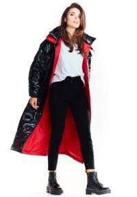 Czarny płaszcz Awama długi, z kapturem
