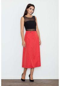 Figl - Czerwona Spódnica Trapezowa Midi z Kieszeniami. Kolor: czerwony. Materiał: poliester, elastan
