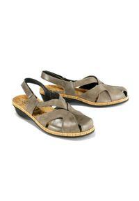 Szare sandały Suave na rzepy, na koturnie