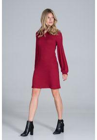 Figl - Dzianinowa Sukienka z Golfem - Czerwona. Typ kołnierza: golf. Kolor: czerwony. Materiał: dzianina