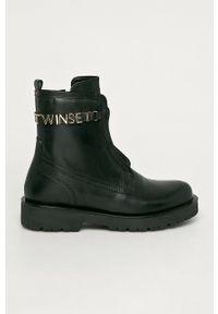 Czarne botki TwinSet z cholewką, z okrągłym noskiem, klasyczne