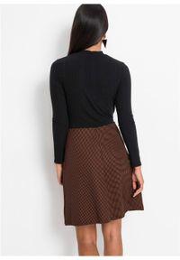 Sukienka z aplikacją bonprix czarno-brązowy z nadrukiem. Typ kołnierza: golf. Kolor: czarny. Wzór: aplikacja, nadruk