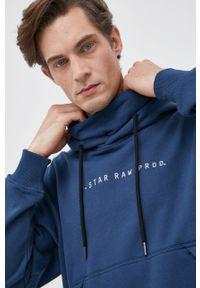 G-Star RAW - G-Star Raw - Bluza. Kolor: niebieski. Materiał: dzianina, materiał. Wzór: gładki