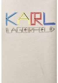 Karl Lagerfeld - T-shirt. Okazja: na co dzień. Kolor: biały. Materiał: dzianina. Wzór: aplikacja. Styl: casual