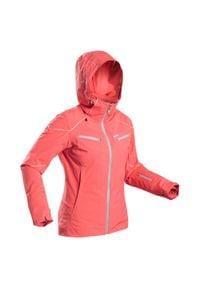WEDZE - Kurtka narciarska 580 damska. Kolor: różowy. Materiał: skóra, materiał. Sport: narciarstwo