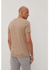 Beżowy t-shirt Brave Soul casualowy, gładki