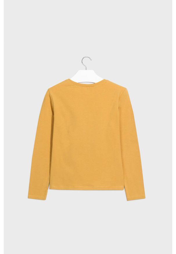 Pomarańczowa bluzka z długim rękawem Mayoral z nadrukiem, casualowa, z okrągłym kołnierzem, na co dzień
