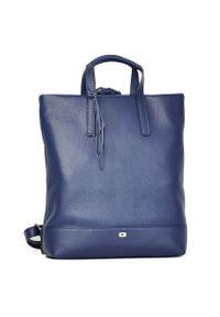 Skórzany plecak damski DAAG Native 22 niebieski. Kolor: niebieski. Materiał: skóra. Styl: casual, młodzieżowy