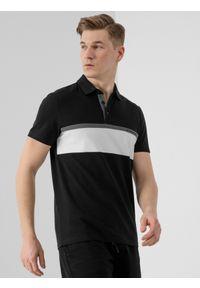 4f - Koszulka polo męska. Okazja: na co dzień. Typ kołnierza: polo. Kolor: czarny. Materiał: bawełna, dzianina. Styl: casual