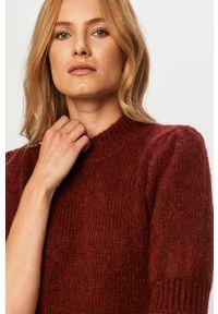 Brązowy sweter Vero Moda casualowy, z krótkim rękawem, krótki, na co dzień
