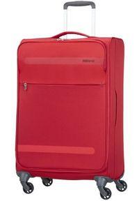 Czerwona walizka AMERICAN TOURISTER w kolorowe wzory, sportowa