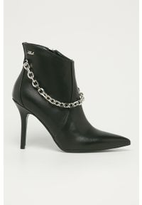 Czarne botki Karl Lagerfeld z cholewką, klasyczne, na zamek