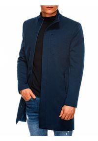 Ombre Clothing - Płaszcz męski jesienny C430 - granatowy - XXL. Okazja: na co dzień. Typ kołnierza: kołnierzyk stójkowy. Kolor: niebieski. Materiał: tkanina, poliester. Sezon: jesień. Styl: casual