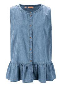 Koszula dżinsowa bez rękawów bonprix jasnoniebieski. Kolor: niebieski. Materiał: lyocell. Długość rękawa: bez rękawów