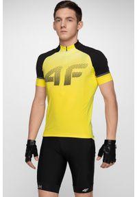 4f - Koszulka rowerowa męska RKM151 - żółty. Typ kołnierza: kołnierzyk stójkowy. Kolor: żółty. Materiał: włókno, materiał. Długość: długie. Wzór: paski. Sport: kolarstwo