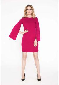 Wow Point - Buraczkowa Wizytowa Sukienka z Rozciętymi Rękawami. Kolor: czerwony. Materiał: poliamid. Styl: wizytowy