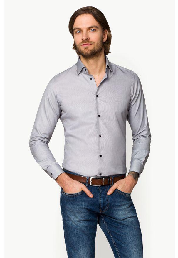 Szara koszula Lancerto w kolorowe wzory