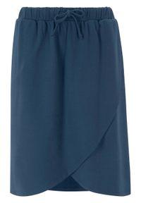 Spódnica shirtowa z założeniem kopertowym bonprix ciemnoniebieski. Kolor: niebieski